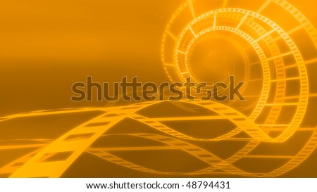 Spiral made from film orange abstract conceptual 3D illustration background