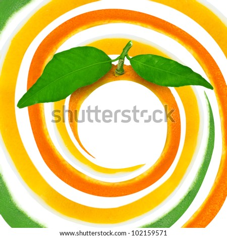 Spiral made of citrus skin isolated on white