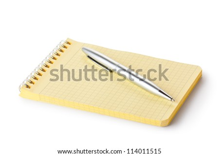 Spiral notebook and pen. Isolated on a white.
