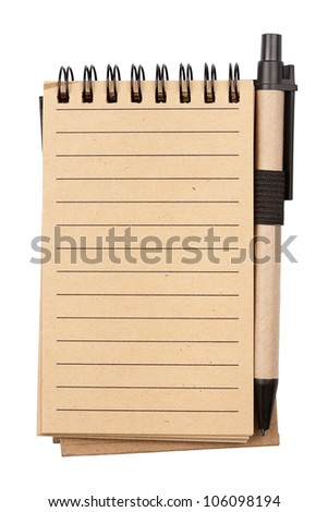 Spiral notebook and pen isolated on white background