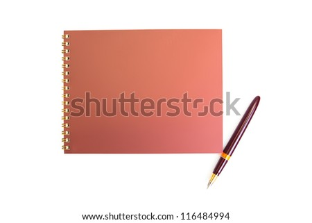 Spiral notebook and pen on a white background - stock photo