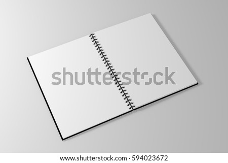 spiral notebook template on clean white background. 3d illustrated