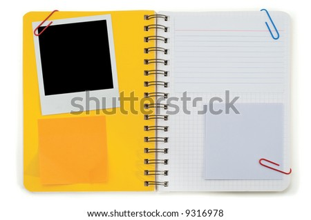 Spiral notepad and blank instant photo isolated on a white
