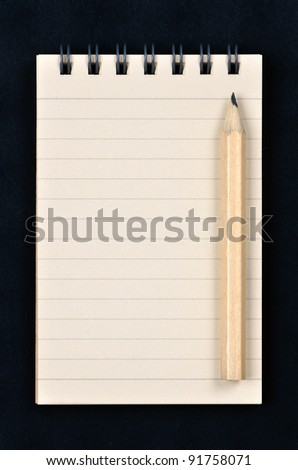 spiral notepad with a wooden pencil