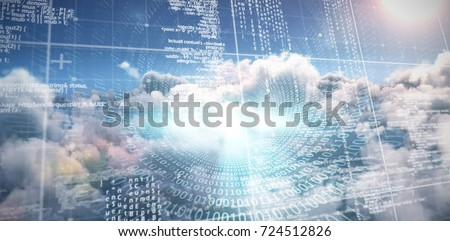 Spiral of shiny binary code against composite image of computer server and cloudy sky