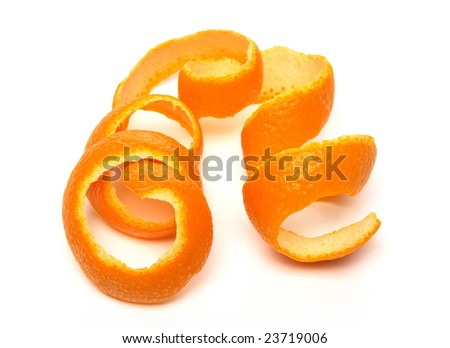Spiral orange peel on white background.