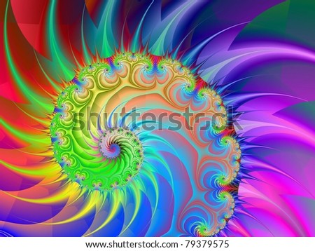 Spiral Rainbow Computer generated image with a spiral design in purple blue yellow green and red.