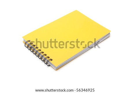 spiral ring-bound yellow notepad, on white background