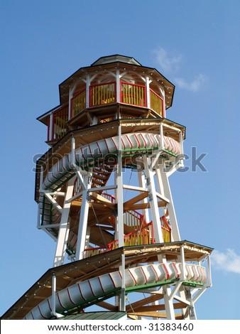spiral slide amusement park ride