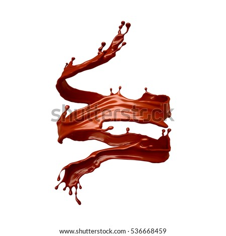 Spiral splash of chocolate isolated on white background. 3d illustration, 3d rendering.