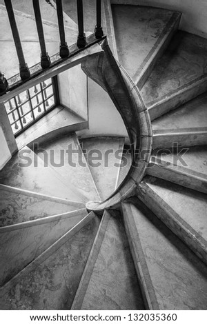 Spiral staircase in an old building, sintra, portugal