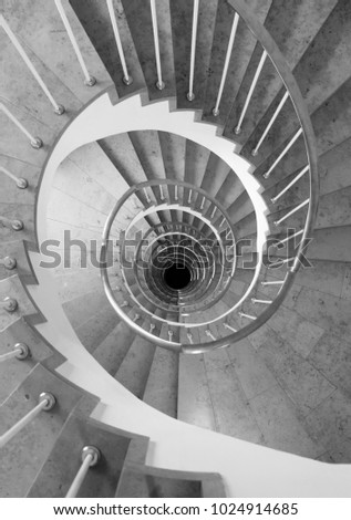 Spiral Staircase in black and white #1024914685