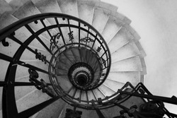 Spiral staircase in black and white in Budapest, Hungary