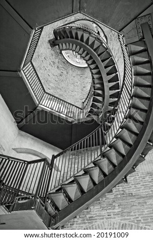 Spiral staircase in the bell tower in Verona - stock photo