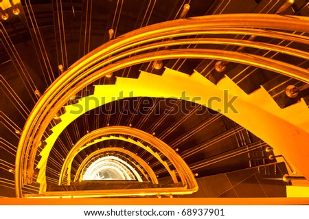 Spiral staircase in the tower, Thailand.