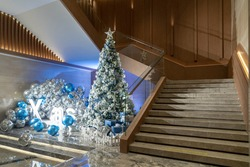 Spiral staircase inside building, Modern spiral staircase, Luxurious interior staircase, Home stair symbol, Modern stairs with christmas trees.
