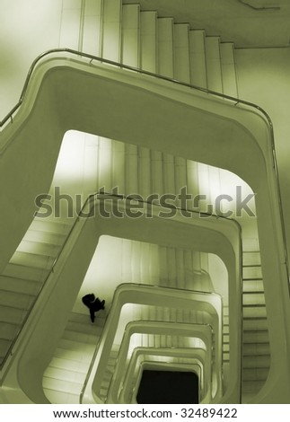 """Spiral staircase of """"Caixa Forum Building"""", Madrid - stock photo"""