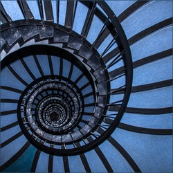 spiral staircase that is blue