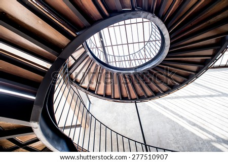 spiral staircase,Upside view of a spiral staircase,Old Spiral Staircase