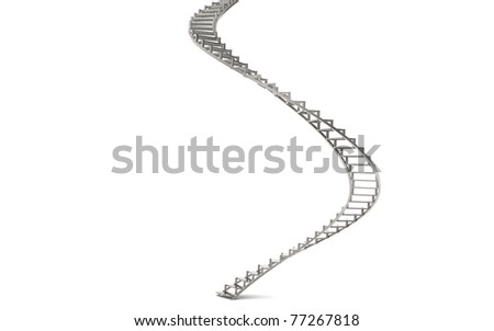 Spiral Stairs. Abstract 3d illustration of spiral stairs. Knuckled Steel.