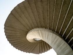 Spiral stairs abstract. Round steps near the Gdanski bridge, Warsaw, Poland