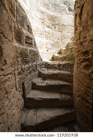 Spiral stairs of Bellapais Abbey, Cyprus - stock photo