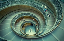 Spiral stairs of the Vatican Museums in Vatican, Rome, Italy.