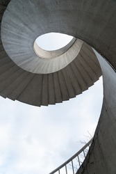 Spiral stairs seen from below on the Most Gdański Bridge in Warsaw across the Vistula River. Old circular stairs in Poland