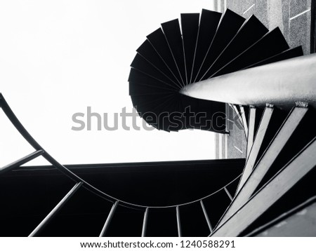Spiral stairs Steel staircase Black color Architecture details Modern building  #1240588291
