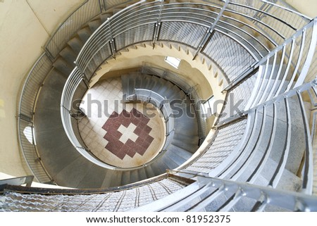 spiral stairway case from above in Tibidabo church, Barcelona