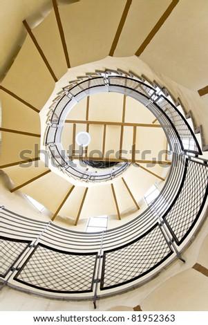 spiral stairway case from below in Tibidabo church, Barcelona