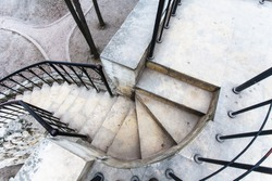 Spiral stone staircase top view