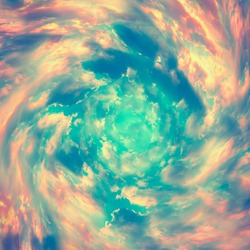 Spiral tunnel from clouds. Bright colorful fairy tale square background. Abstract texture heaven concept. Vintage toned.