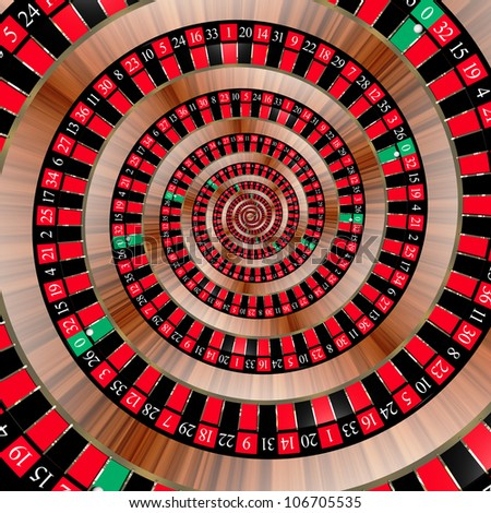 Spiral with roulette numbers symbolizing the bad luck of gambling. The ball in the zero slot. - stock photo