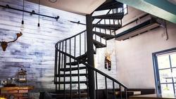 spiral wooden staircase circular staircase decoration interior.