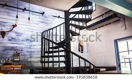 spiral wooden staircase circular staircase decoration interior.