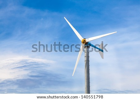 Spirals wind turbine in blue sky background