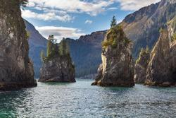 Spire Cove located within Kenai Fjords National Park. Wildlife Cruise around Resurrection Bay, Alaska, USA.