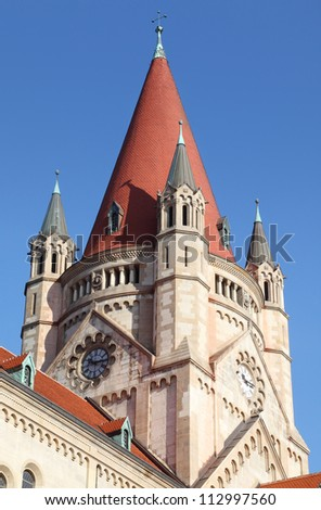 spire of St. Francis of Assisi Church in Vienna, Austria
