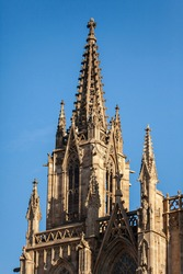 Spire of the Cathedral of the Holy Cross and Saint Eulalia in Barri Gothic Quarter in Barcelona, Catalonia, Spain