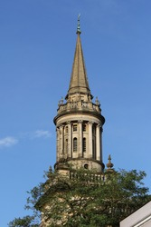 spire on All Saints Church now Lincoln college library in Oxford England part of the university and on the corner of Turl Street and High Street