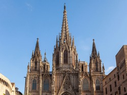 Spires of the Cathedral of the Holy Cross and Saint Eulalia in Barri Gothic Quarter in Barcelona, Catalonia, Spain