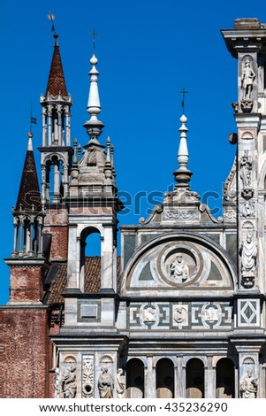 Spires of the Certosa di Pavia are typical of the Lombard architecture and combines Gothic and Renaissance styles. This is one of the largest monasteries in Italy, built by Carthusians in 1396-1495. #435236290