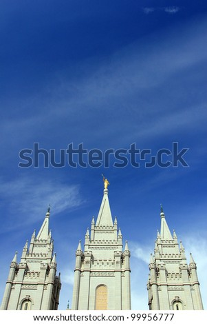 Spires on top of mormon temple in Salt Lake City, Utah.