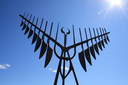 Spirit Catcher Statue located in Barrie, Ontario