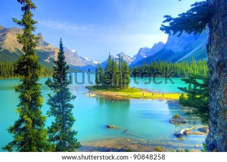 Spirit Island at Maligne Lake, Jasper, Rocky Mountain, Canada