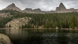 Spirit Lake looking south towards unnamed mountain peak