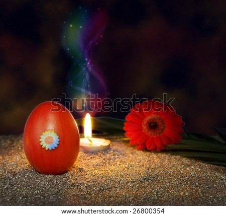 Spirit of Jesus with resurrection candle on Easter night
