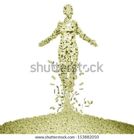 Spirit of money. Human-shaped pile of money.