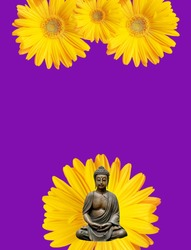 spiritual background for meditation with budha and flowers